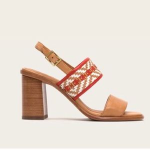 Frye 7 Tan Sandal Woven Leather Chunky Block Heel